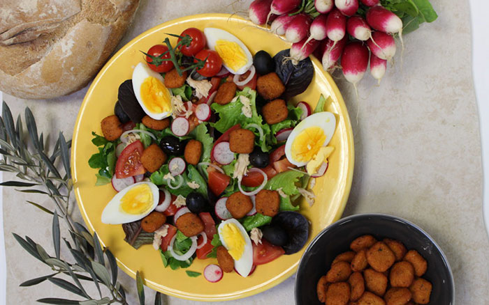 Nicoise Salad with polenta stamps