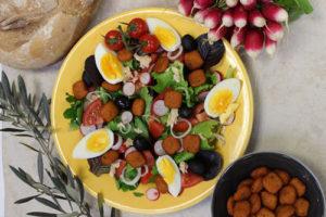Nicoise Salad with polenta stamps